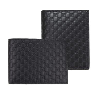 [時時樂限定] GUCCI Guccissima 壓印牛皮對開短夾(黑色)-兩款均一價