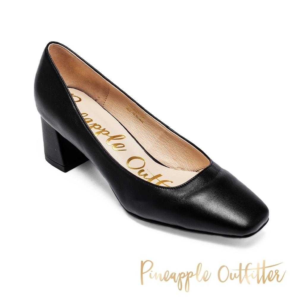 Pineapple Outfitter 質感皮質小方頭粗跟鞋-黑色