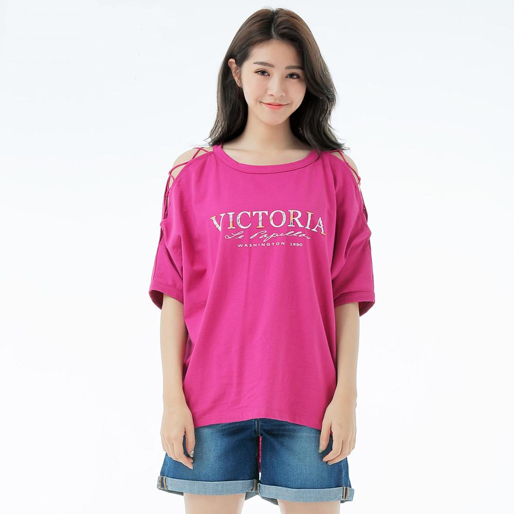 Victoria 挖肩綁帶設計縫珠寬鬆短袖T-女-紫粉
