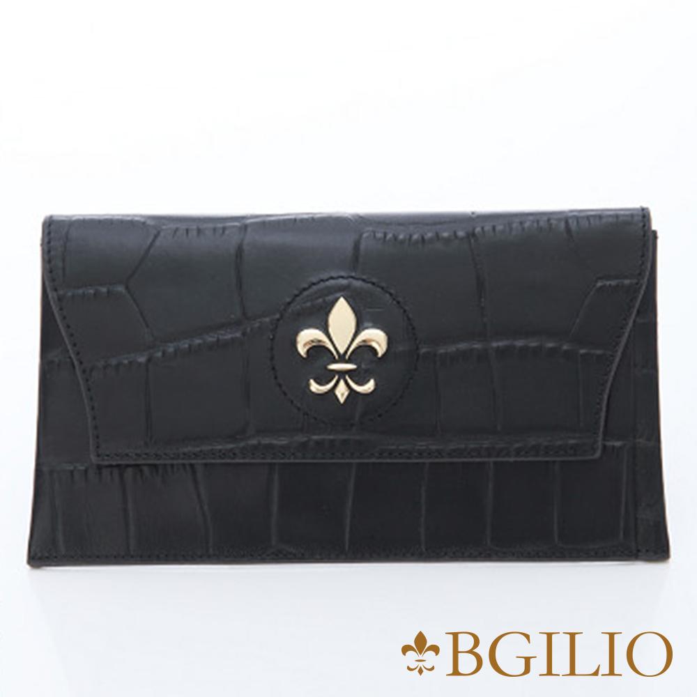 義大利BGilio-牛皮鱷魚紋內袋可拆式長夾-黑 1477.328-05