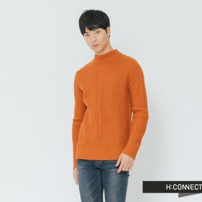 H:CONNECT 韓國品牌 男裝-簡約坑條針織上衣-橘(快)