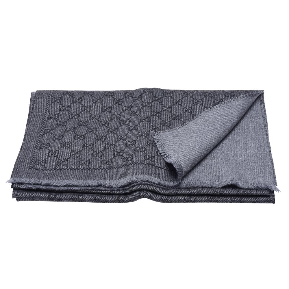 GUCCI 經典GG LOGO花紋羊毛流蘇圍巾(灰)