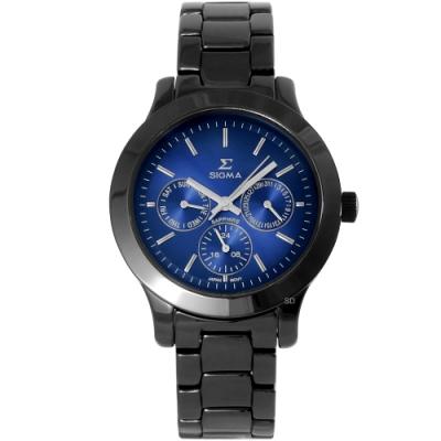 SIGMA 都會簡約三眼時尚手錶-藍X黑/36mm