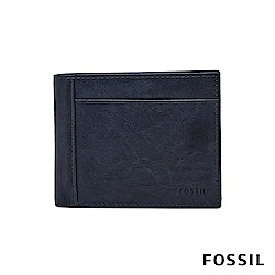 FOSSIL NEEL 真皮系列證件零錢袋兩折短夾-海軍藍 ML3890400
