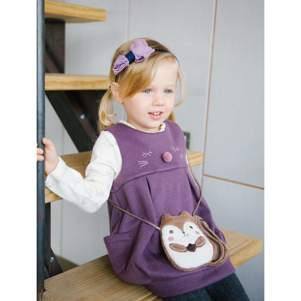 PIPPY可愛附袋兩件式洋裝 紫