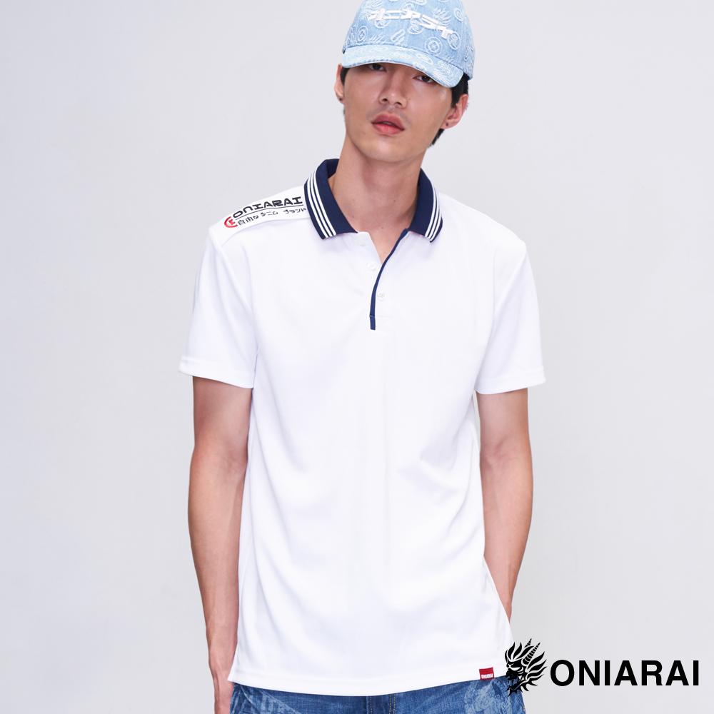 鬼洗 BLUE WAY 涼感吸排撞色運動POLO衫(白)