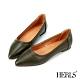 HERLS平底鞋-幾何沖孔滾邊尖頭平底鞋-墨綠色 product thumbnail 1