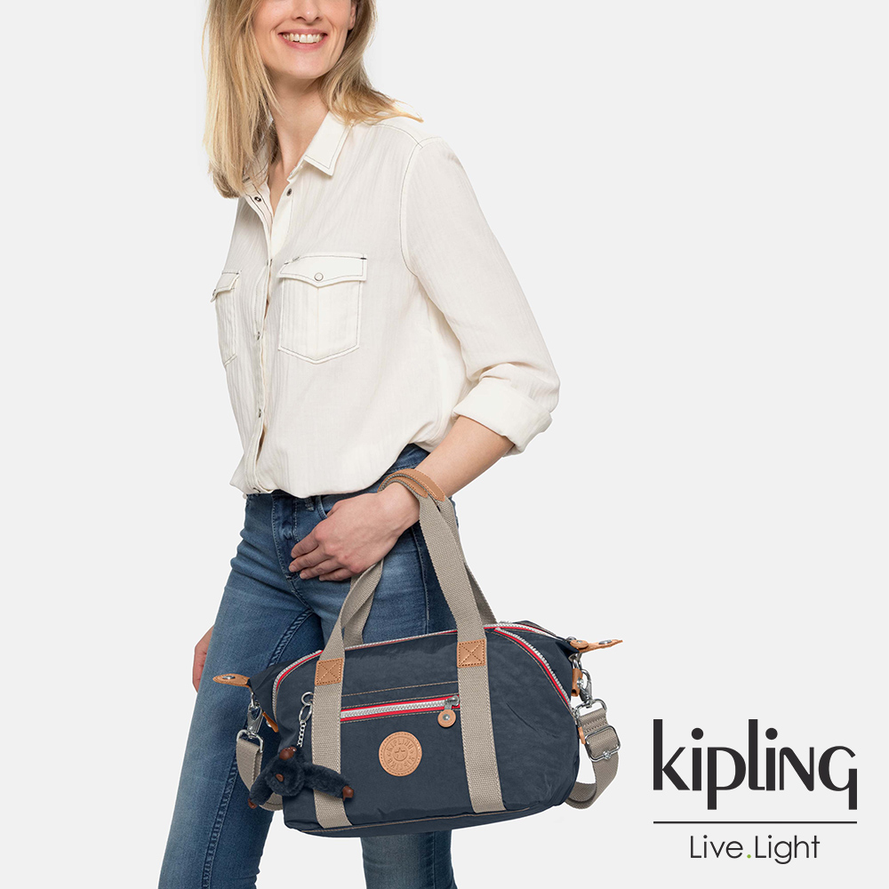Kipling 深藍撞色拉鍊手提側背包-ART MINI-ESSENTIAL系列