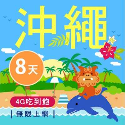 【Smart Go】沖繩 網卡 8日 4G 不降速 上網 吃到飽 上網 SIM卡
