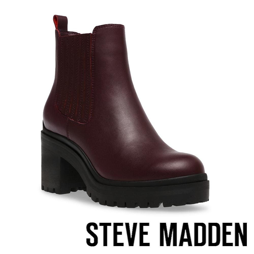 STEVE MADDEN-ENCOUNTER 側鬆緊中跟短靴-酒紅色