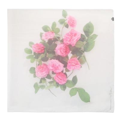 agnès b 玫瑰花方形絲巾
