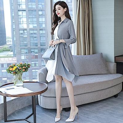 不規則雙色拼接特殊袖口連身裙S-2XL-REKO