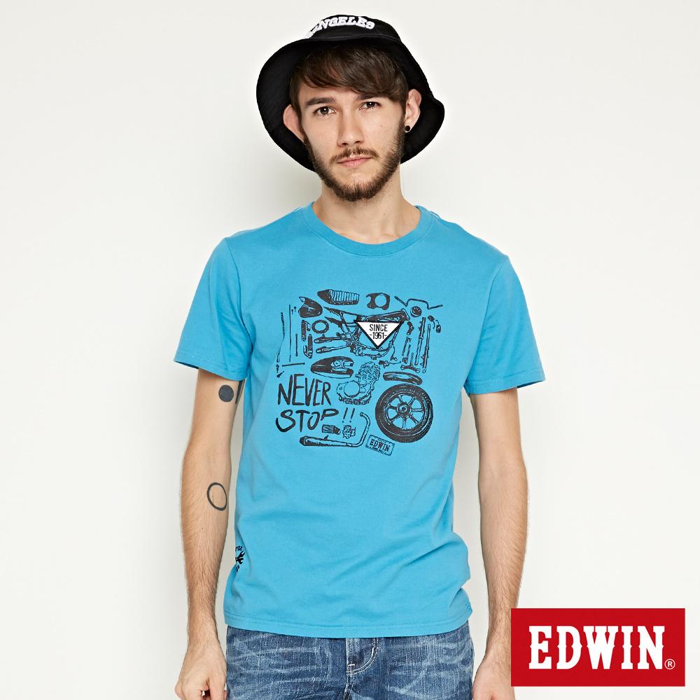 EDWIN MOTO零件印花短袖T恤-男-土耳其藍