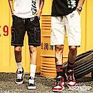 Monkey Shop YUX字母反車線造型彈性鬆緊休閒短褲-2色