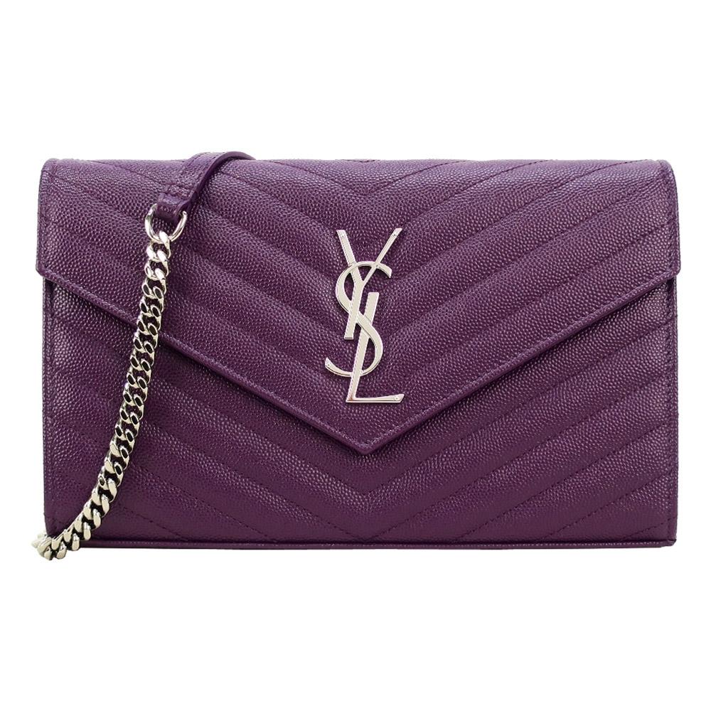 YSL MONOGRAM V字縫線魚子醬牛皮金屬LOGO鍊帶斜肩包(紫)