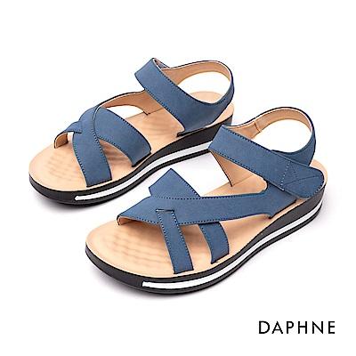 達芙妮DAPHNE 涼鞋-交叉條帶魔鬼氈厚底涼鞋-藍