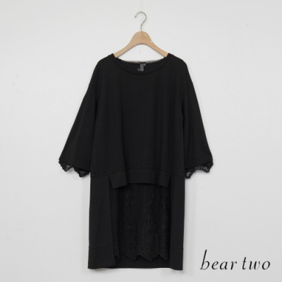 beartwo-蕾絲拼接長版上衣-黑