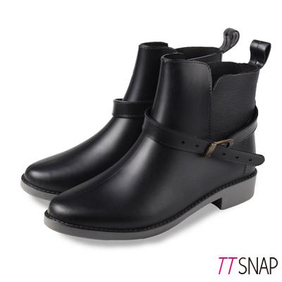 TTSNAP雨靴-輕量2way圓頭中筒防水靴 黑