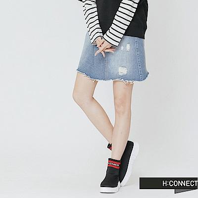 H:CONNECT 韓國品牌 女裝-打摺設計刷破牛仔裙-藍