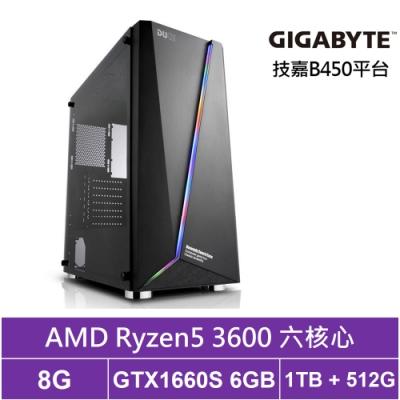 技嘉B450平台[魂鬥殺手]R5六核GTX1660S獨顯電玩機
