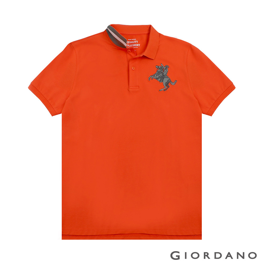 GIORDANO 男裝經典拿破崙撞色刺繡彈力萊卡POLO衫-07 錦鯉橙