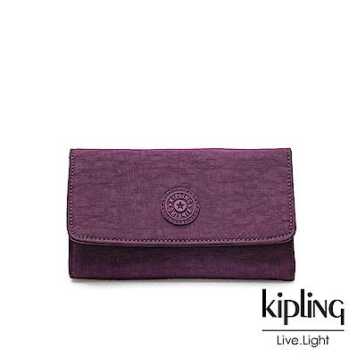 Kipling 深紫素面翻蓋長夾-YELINA