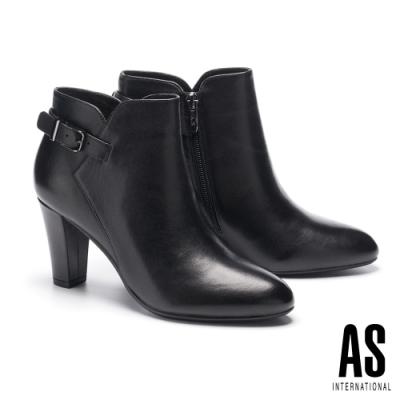 短靴 AS 簡約時尚金屬釦全真皮尖頭高跟短靴-黑