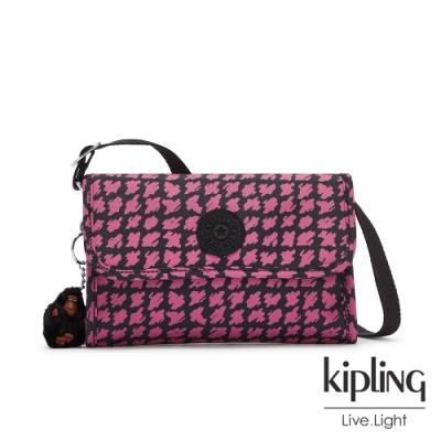 Kipling 時尚塗鴉線條撞色掀蓋拉鍊肩背包-BERRY