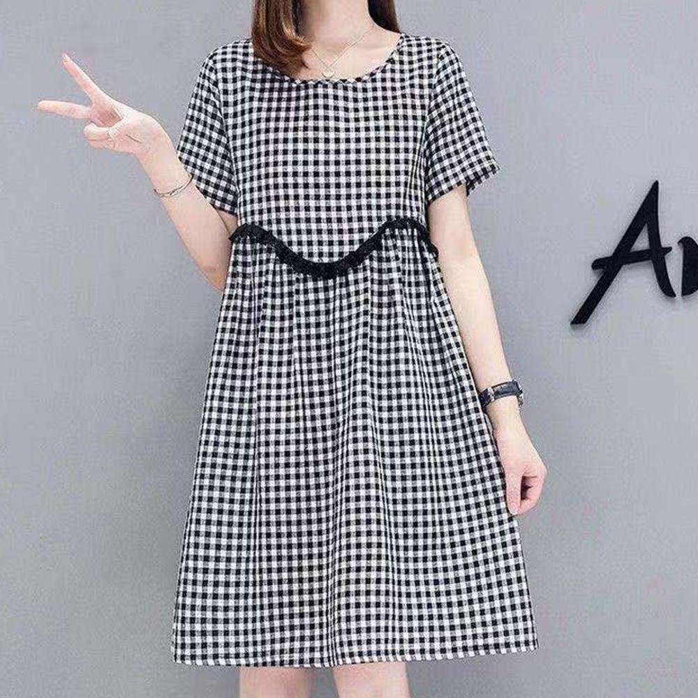 Lockers 木櫃  圓領格紋A字版高腰洋裝/連衣裙-2色