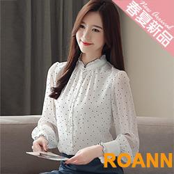 小立領點點印花透膚雪紡襯衫 (共二色)-ROANN