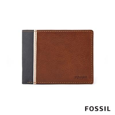 FOSSIL ELGIN 真皮實用零錢袋男夾-咖啡色