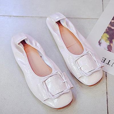 韓國KW美鞋館 獨賣款經典不敗休閒娃娃鞋-米白色
