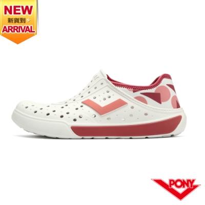 【PONY】ENJOY洞洞鞋 踩後跟 雨鞋 水鞋 中性款-幾何/珊瑚粉