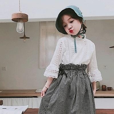 小衣衫童裝  女童超美鏤空蕾絲喇叭袖公主襯衫1080303