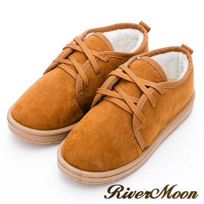 River&Moon雪靴-暖呼呼鋪毛俏麗綁帶Q軟底短靴-黃棕