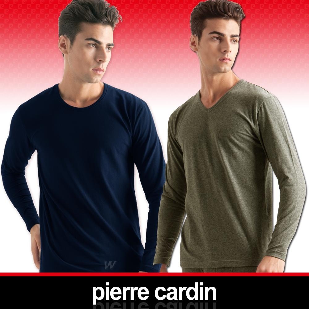 [時時樂限定] 皮爾卡登蓄熱保暖彈力棉圓領/V領長袖衫2入組