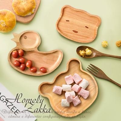 Homely Zakka 木趣食光櫸木創意卡通托盤/兒童餐盤/點心盤_瞇瞇熊
