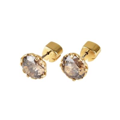 kate spade The Sparkle黑桃LOGO圓形設計鑽鑲飾穿式耳環(金x灰)