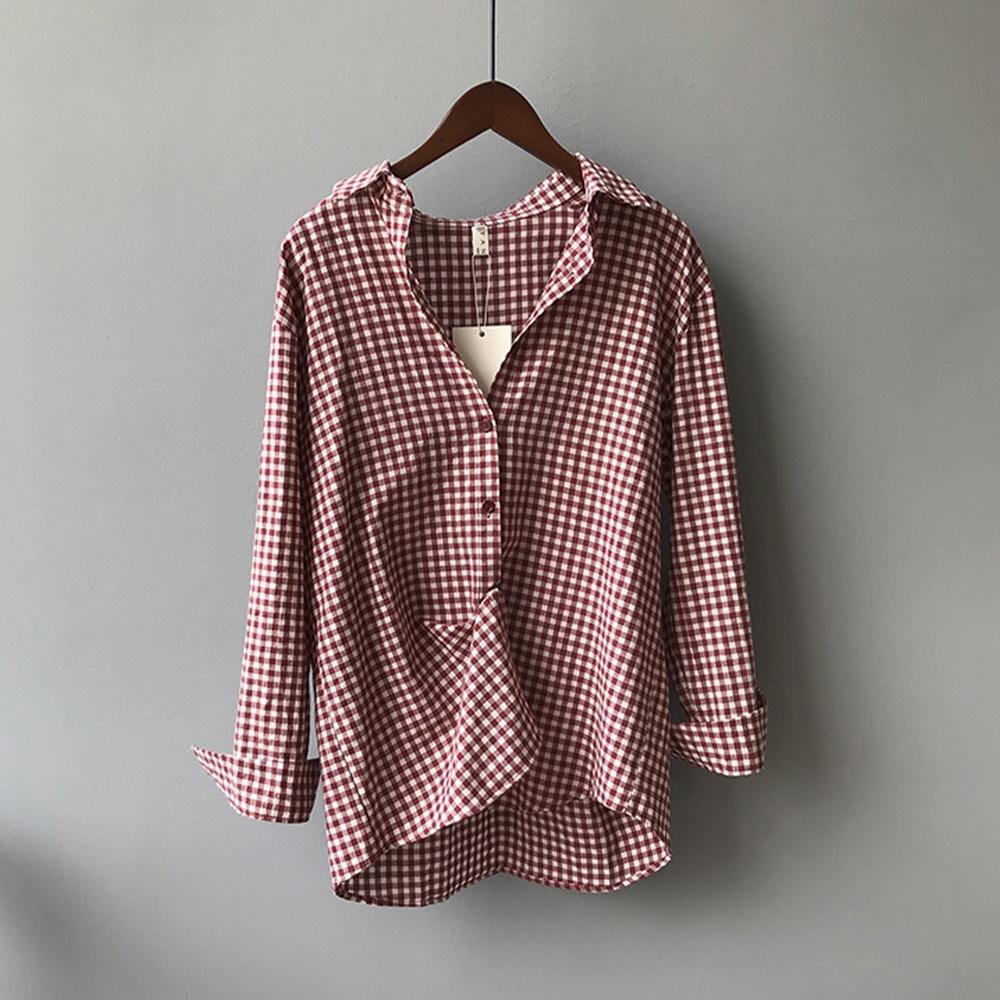 初色  百搭復古寬鬆襯衫-共3色-(M/L可選)