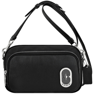 COACH 黑色荔枝紋皮革拼接斜背包-大型