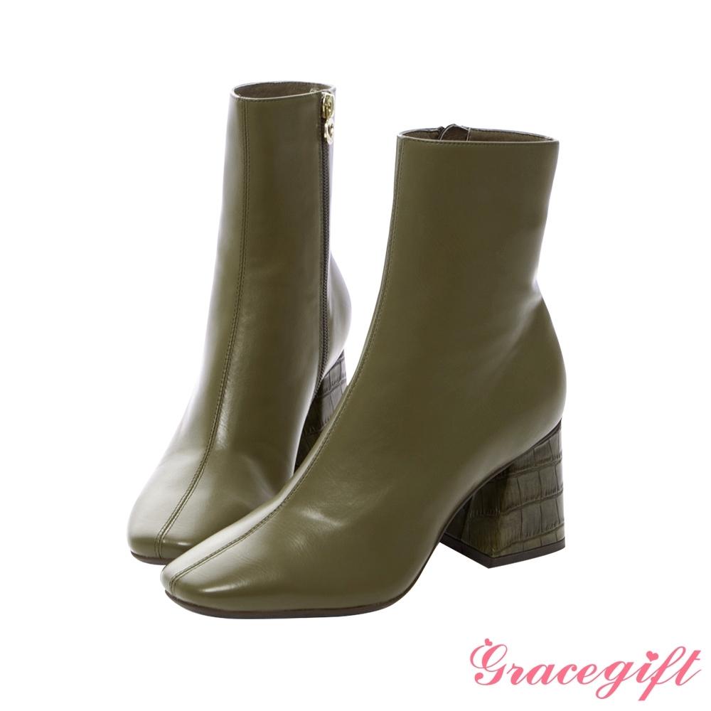 Grace gift X紀卜心-聯名素面壓紋高跟短靴 綠