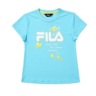 FILA KIDS 女童吸濕排汗上衣-綠黃 5TES-4916-LM