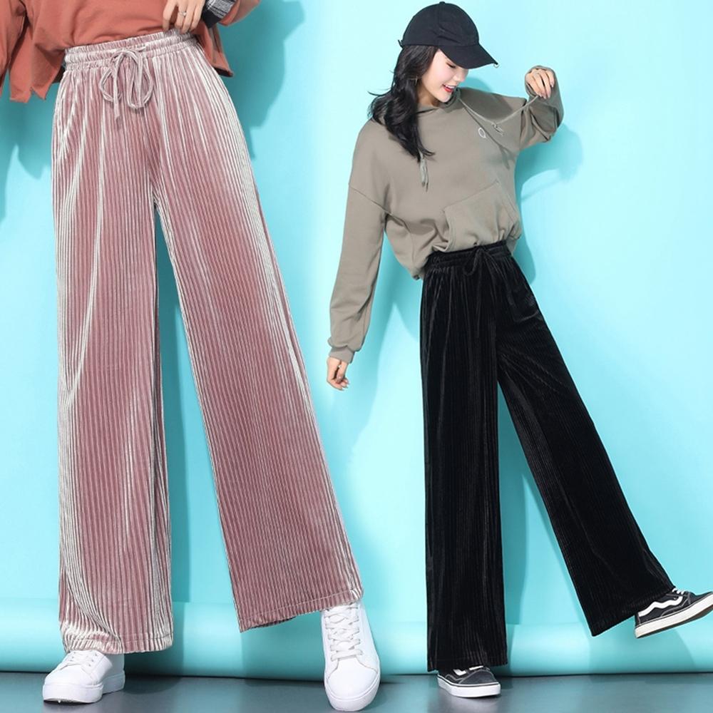 時尚純色鬆緊腰垂墜感燈心絨闊腿褲S-2XL(共三色)-WHATDAY (粉色)