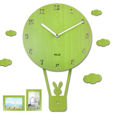 10吋 小兔熱氣球 居家擺飾 兒童房 兒童臥室 餐廳客廳 靜音搖擺掛鐘 - 綠色