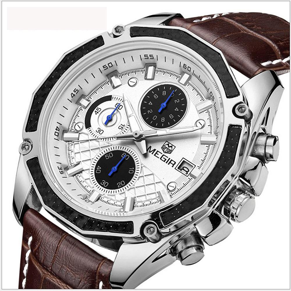 美國熊 國民男錶  三眼計時 日期窗 真皮表帶石英機芯腕錶