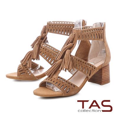 TAS羅馬風流蘇沖孔麂皮後包粗跟涼鞋-復古棕