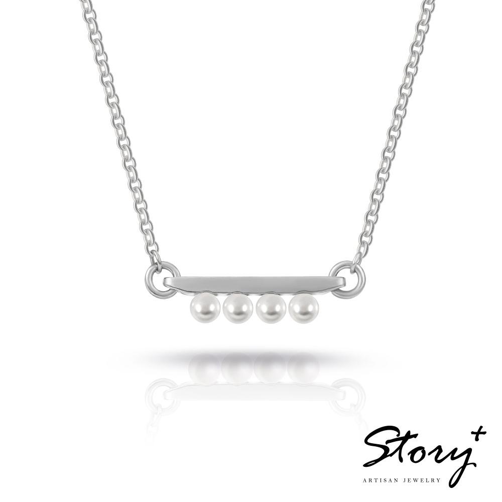 STORY故事銀飾-三重奏Trio-施華洛世奇珍珠項鍊(白K金)