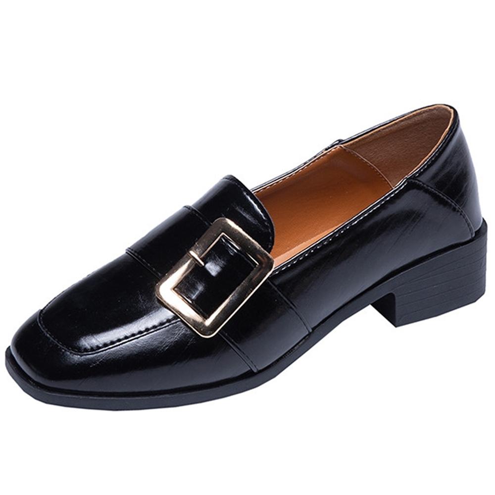 KEITH-WILL時尚鞋館 歐洲站金扣樂福鞋-黑