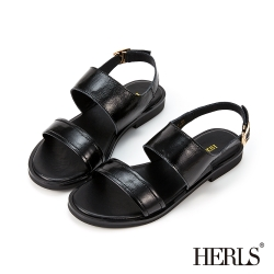HERLS涼鞋-油蠟牛皮簡約雙寬帶露趾平底涼鞋-黑色