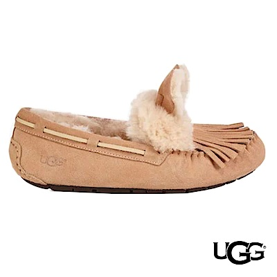 UGG女士 Darlala 羊毛麂皮蝴蝶結樂福鞋